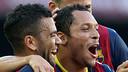 Dani Alves and Adriano celebrate a goal / PHOTO: ARCHIVE-FCB