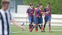 Els jugadors del Cadet B, celebrant un gol en una imatge d'arxiu. FOTO: Arxiu FCB