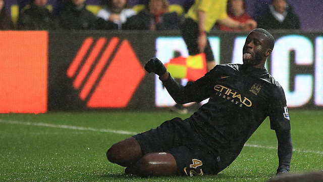 Touré celebrating his goal / PHOTO: MCFC.CO.UK