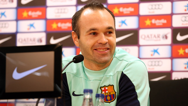 Andrés Iniesta spoke to the media this lunchtime / PHOTO: MIGUEL RUIZ - FCB