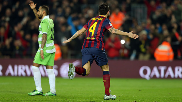 Cesc Fàbregas celebrates a goal against Getafe / PHOTO: MIGUEL RUIZ-FCB