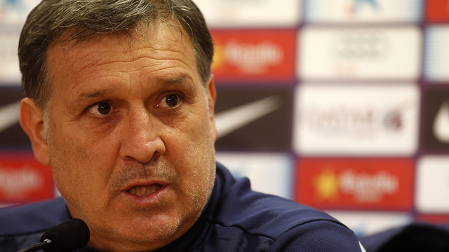 Martino in his press conference at the Ciutat Esportiva