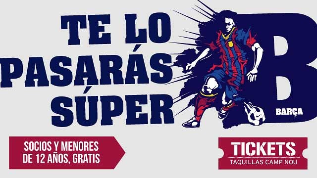 Free Ticket: Members and under 12 years old Barça B Tickets sold only at Ticket Offices