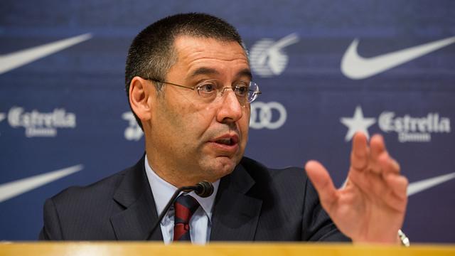 Bartomeu, during last Friday's press conference. PHOTO: GERMÁN PARGA - FCB