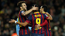 Cesc, Pedro and Alexis celebrating one of the goals against Malaga / PHOTO: MIGUEL RUIZ-FCB