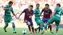 Messi and Cesc against Levante in the Liga. PHOTO: MIGUEL RUIZ-FCB.