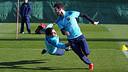Pinto i Cesc, a l'entrenament d'aquest divendres al matí / FOTO: MIGUEL RUIZ - FCB