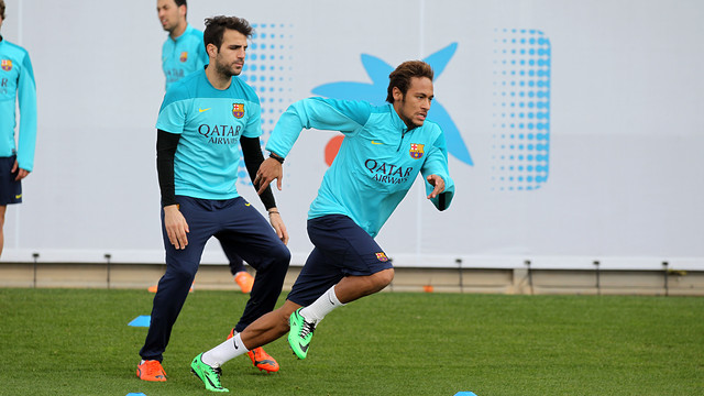 Neymar and Cesc in training on Monday
