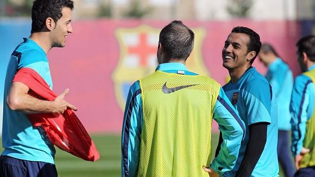 Busquets, Iniesta and Pedro. FOTO: MIGUEL RUIZ - FCB