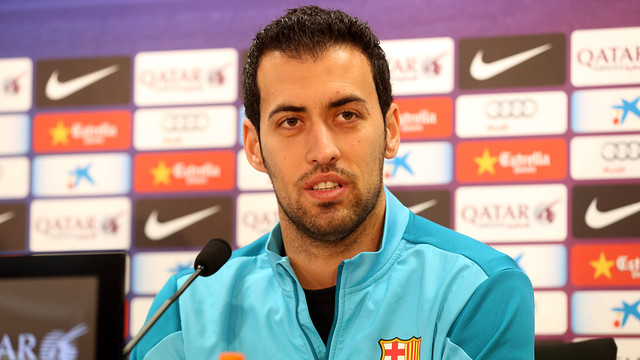 Busquets, during the press conference. PHOTO: MIGUEL RUIZ-  FCB