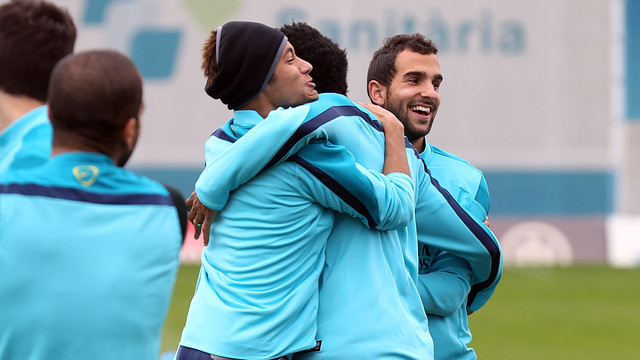 Neymar, Song and Montoya trained this morning / PHOTO: MIGUEL RUIZ - FCB
