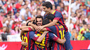 The players celebrate a goal from the match in Almeria / PHOTO: Archive FCB