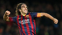 Puyol celebrates his goal against Almeria. PHOTO: MIGUEL RUIZ-FCB.