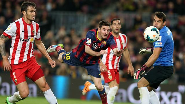 Leo Messi scored the second of FC Barcelona's four goals against Almeria / PHOTO: MIGUEL RUIZ - FCB