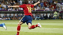 Jordi Alba celebrating a goal against Italy / PHOTO: CARMELO RUBIO