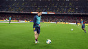 Leo Messi, warming up before the match/ PHOTO: MIGUEL RUIZ - FCB