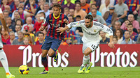 Neymar and Carvajal battle for a ball in the game at the Camp Nou