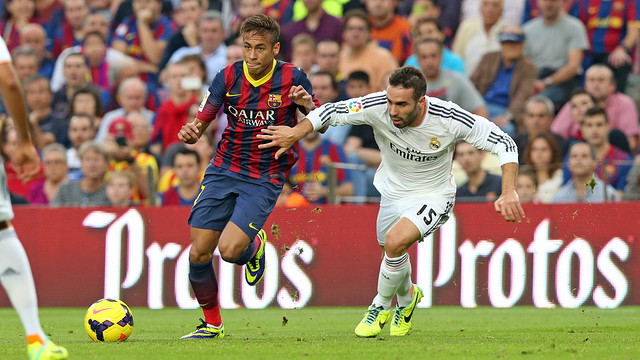 Neymar and Carvajal at the Camp Nou / PHOTO: MIGUEL RUIZ-FCB