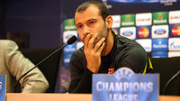 Mascherano listening to a question at today's press conference