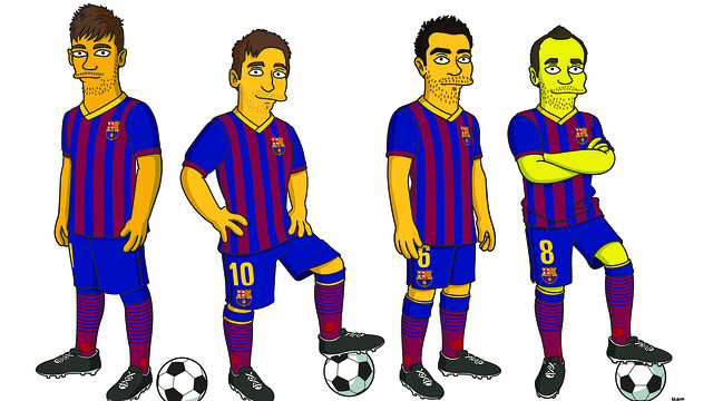 Barcelonas stars get Simpson ized! Catalans join Chelsea doing a deal with The Simpsons