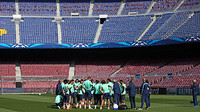 Team talk in the Camp Nou