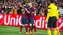 Messi, Alves and Iniesta celebrating the second goal/ PHOTO: GERMÁN PARGA-FCB