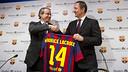 Club Vice-President Javier Faus and the Managing Director of  Maurice Lacroix, Marc Gläser / PHOTO: VÍCTOR SALGADO - FCB