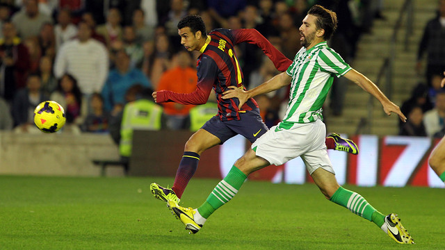 Pedro starred away to Betis earlier this season / PHOTO: MIGUEL RUIZ-FCB