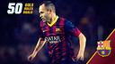 Andrés Iniesta has now scored 50 goals with teh first team
