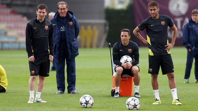 Messi and Neymar in Monday's session / PHOTO: MIGUEL RUIZ - FCB
