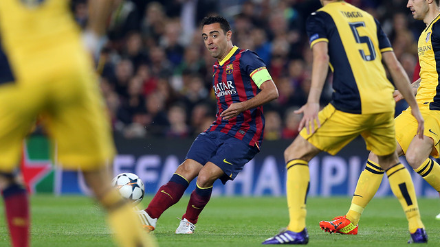 Xavi, during the game