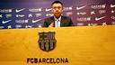Josep Maria Bartomeu was speaking in the Ricard Maxenchs pressroom / PHOTO: MIGUEL RUIZ - FCB