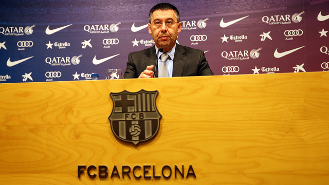 Josep Maria Bartomeu was speaking in the Ricard Maxenchs pressroom / PHOTO: MIGUEL RUIZ - FCB