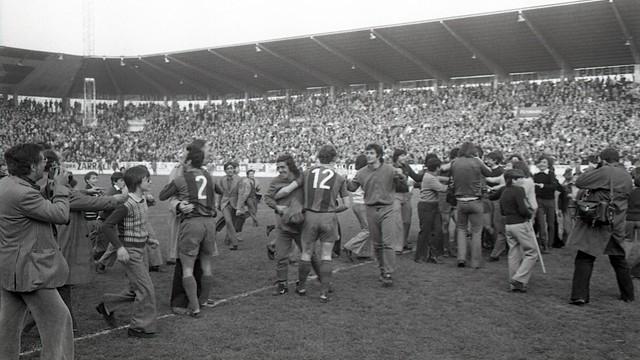 Euphoria at the Molinón (1974). PHOTO: ARXIU FCB.