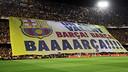 Imatge de la pancarta amb el lema 'Un crit valent' / FOTO: MIGUEL RUIZ - FCB