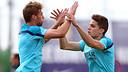 Gómez i Bartra, a l'entrenament d'aquest dissabte. FOTO: MIGUEL RUIZ-FCB.