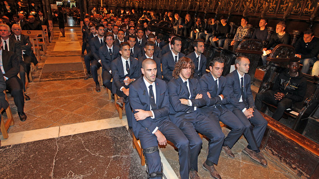The first team at the memorial ceremony for Tito Vilanova / PHOTO: MIGUEL RUIZ - FCB