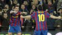 Xavi et Messi, contre Getafe 2009/10. PHOTO: MIGUEL RUIZ-FCB.
