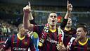 Fernandao, scorer of the winning goal, celebrating the win. PHOTO: V. SALGADO - FCB