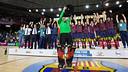 Aitor Egurrola lifts Barça's 20th European League Trophy / PHOTO: GERMÁN PARGA - FCB