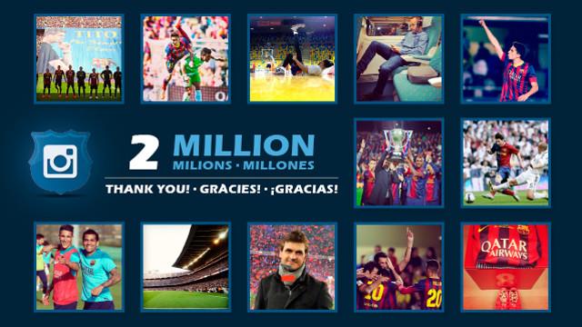 El FC Barcelona supera los 2 millones de seguidores en Instagram