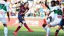 Iniesta rattles the woodwork. PHOTO: MIGUEL RUIZ-FCB.