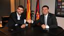 Gerard Piqué et Josep Maria Bartomeu / PHOTO: MIGUEL RUIZ - FCB