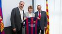 Zubizarreta, Halilovic and Elías, during the signing / PHOTO: GERMÁN PARGA-FCB