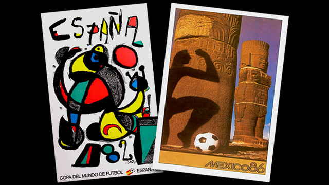Posters for the World Cups in Spain, 1982, and Mexico, 1986