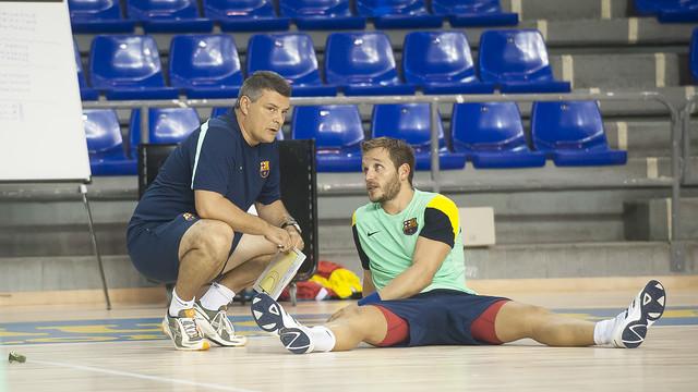 Pascual i Tomàs, durant un entrenament. /FOTO: ARXIU-FC