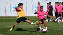 Montoya and Sergi Roberto were among the players that trained today / PHOTO: FCB ARCHIVE
