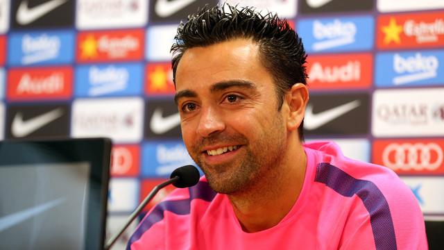 Xavi at the press conference