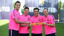 The quartet at the Ciutat Esportiva today with their captain's armbands / PHOTO: MIGUEL RUIZ-FCB