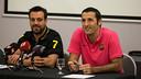 Ricard Muñoz y Aitor Egurrola durante la rueda de prensa en El Montanyà / FOTO: GERMÁN PARGA - FCB